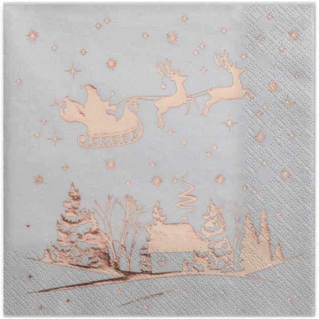 Serwetki Zaprzęg Świętego Mikołaja SANTEX różowo-złote metaliczne 33cm 20 szt