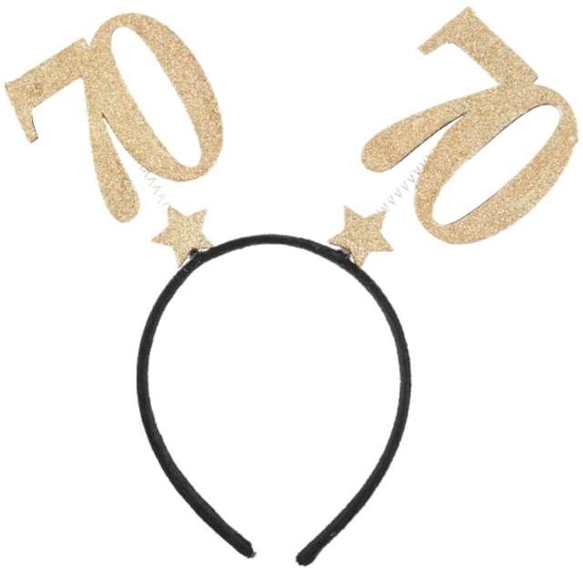 Opaska party 70 Urodziny czarno-złota Santex