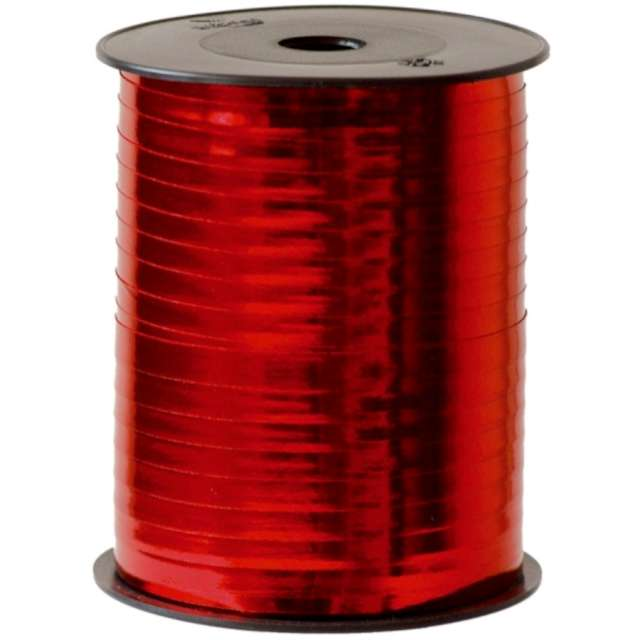_xx_Plain metallic bolduc ribbon Red (Polypropylene) 7 mm