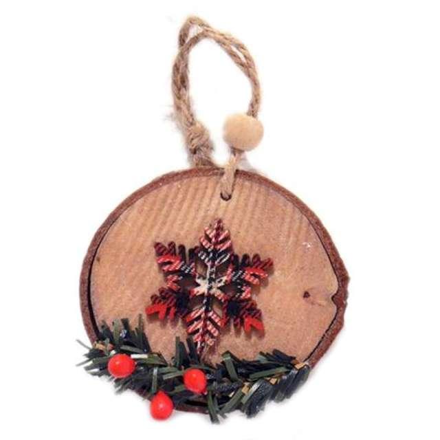 Ozdoba choinkowa Gwiazdka w kratkę drewniana Arpex 7 cm
