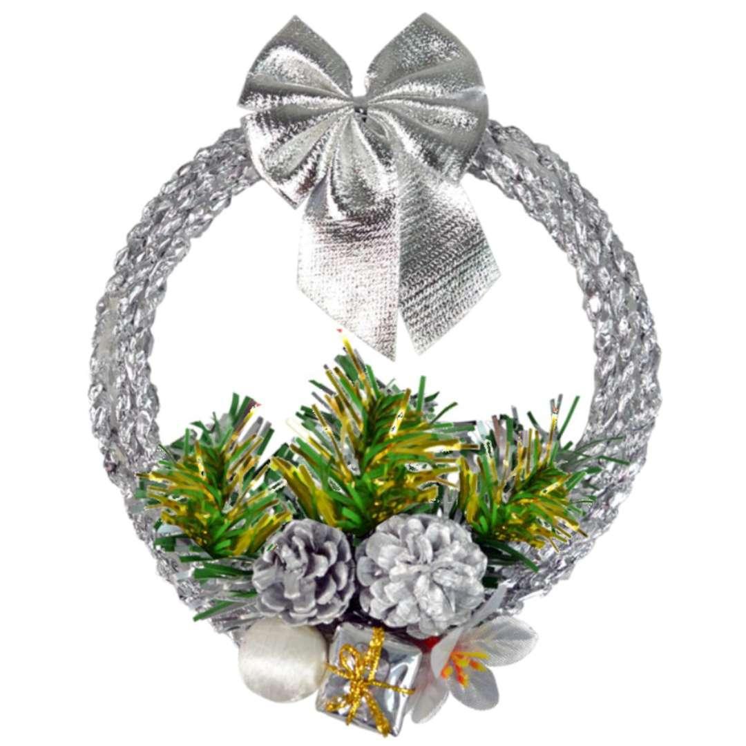 """Dekoracja """"Świąteczny wieniec"""", srebrny, Arpex, 16 cm"""