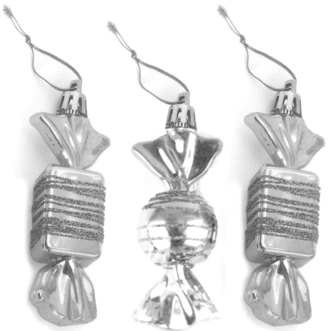 "Bombki ""Cukierki z brokatem"", srebrne, Arpex, 9 cm, 3 szt"