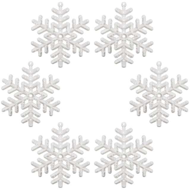 """Ozdoba choinkowa """"Brokatowa śnieżynka wz.3"""", Arpex, 10 cm, 6 szt"""