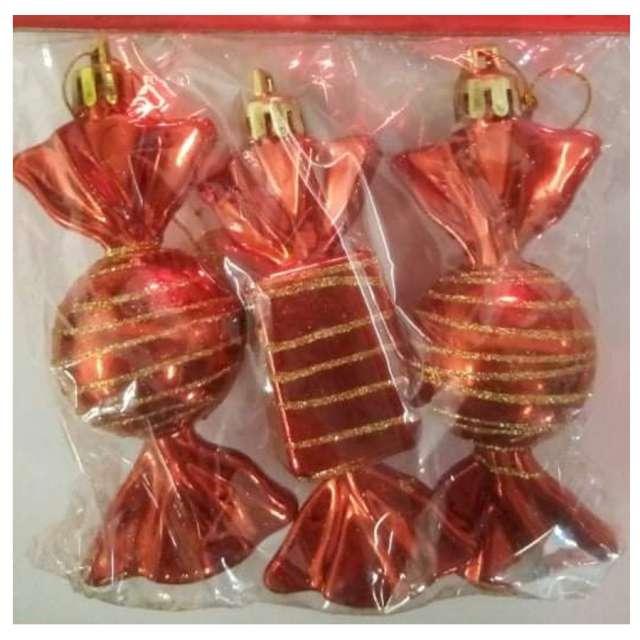 Bombki Cukierki z brokatem czerwono-złote Arpex 9 cm 3 szt