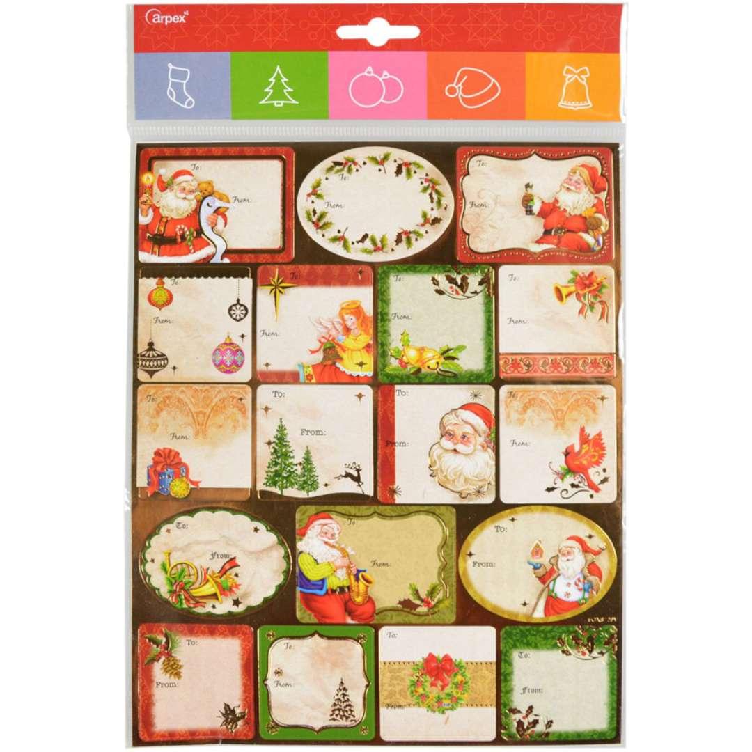 Naklejki na prezenty Mikołaj i prezenty beżowy mix Arpex