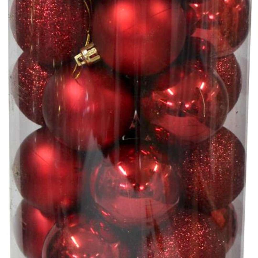 Bombki Zestaw Mix w tubie czerwone Arpex 3 cm 16 szt
