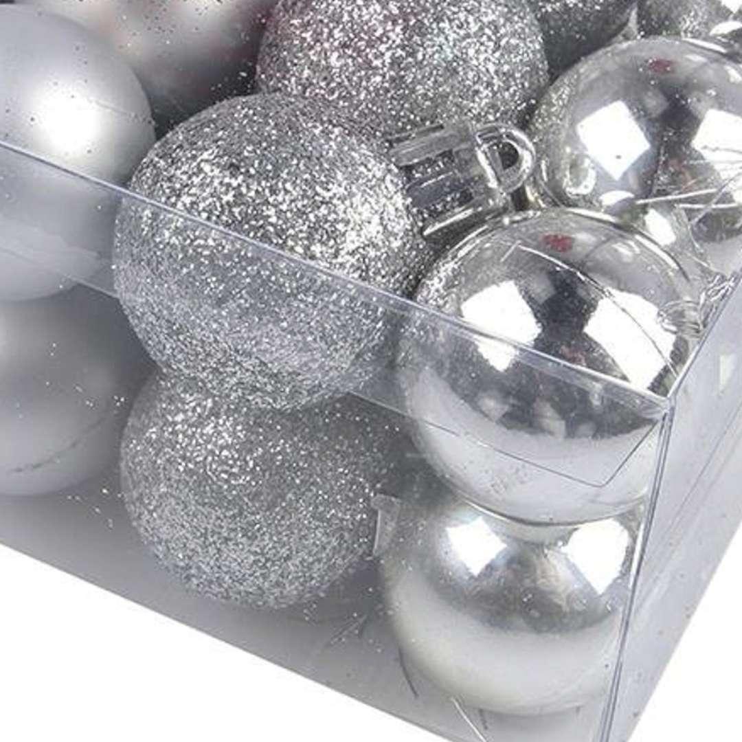 Bombki Zestaw Mix w tubie srebrne Arpex 3 cm 16 szt