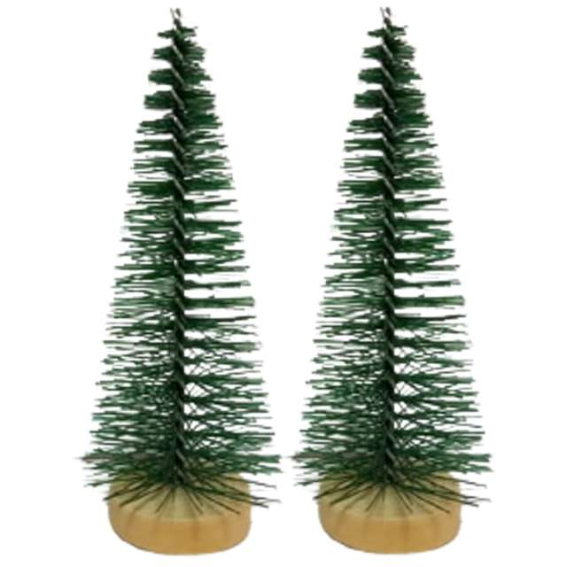Dekoracja Choinki na pniu zielona Aliga 10cm 2szt