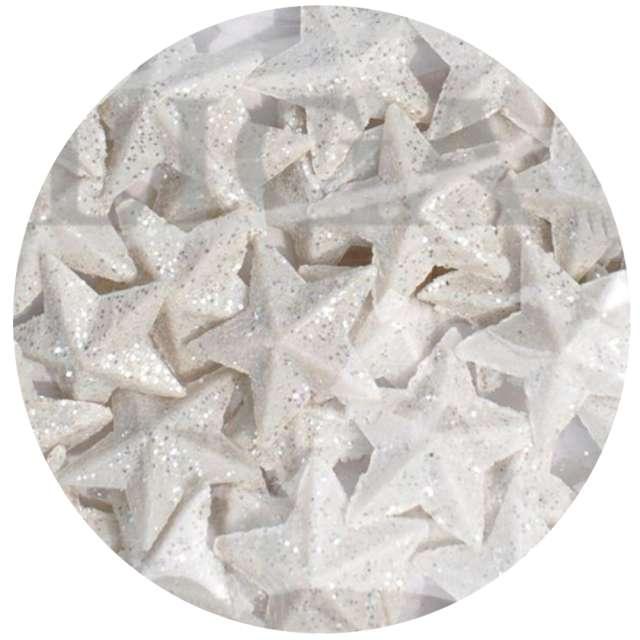 """Dekoracja """"Gwiazdki brokatowe"""", biała, Aliga, 7 cm"""