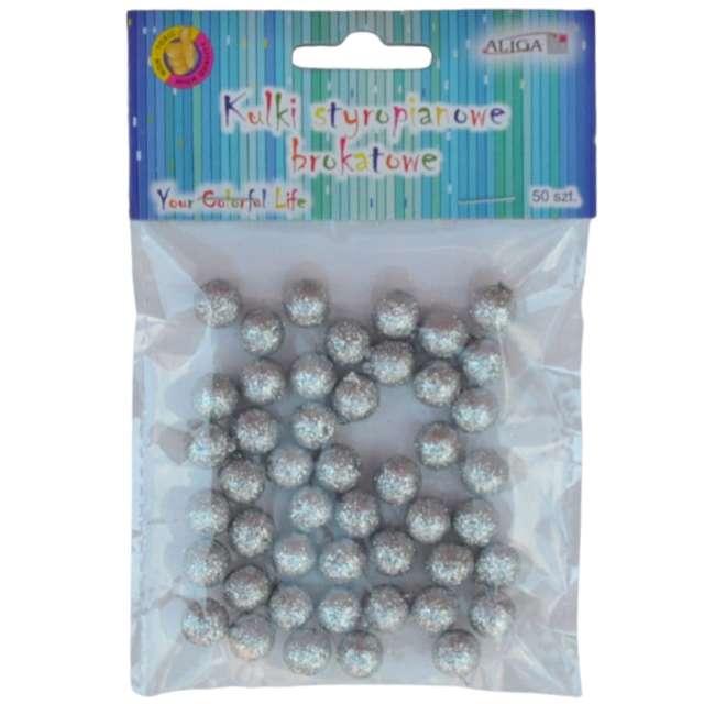 Styropian Kuleczki srebrne Aliga 10 mm 50 szt