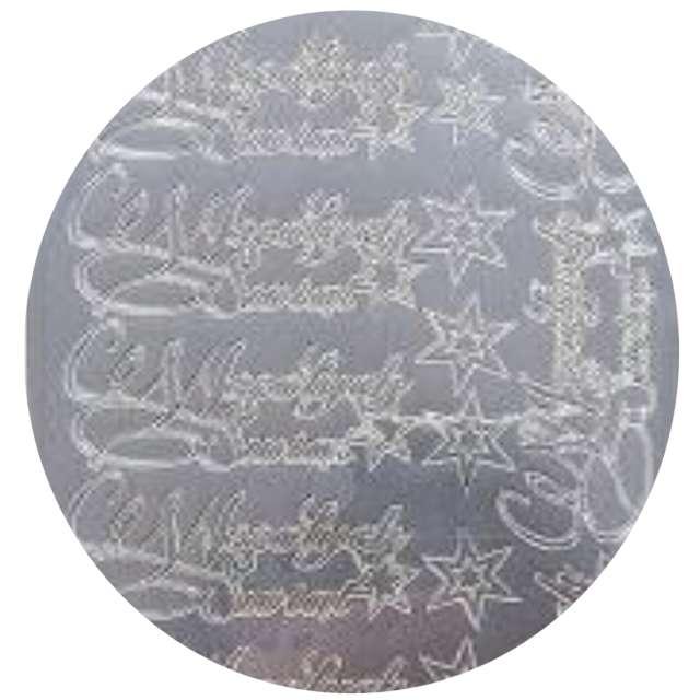 Naklejki Wesołych Świąt - życzenia i gwiazdki srebrne Aliga 10x23cm
