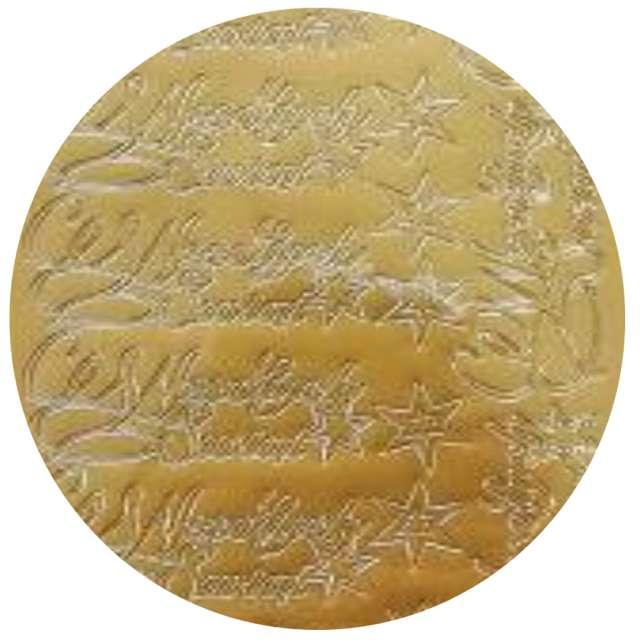 Naklejki Wesołych Świąt - życzenia i gwiazdki złote Aliga 10x23cm