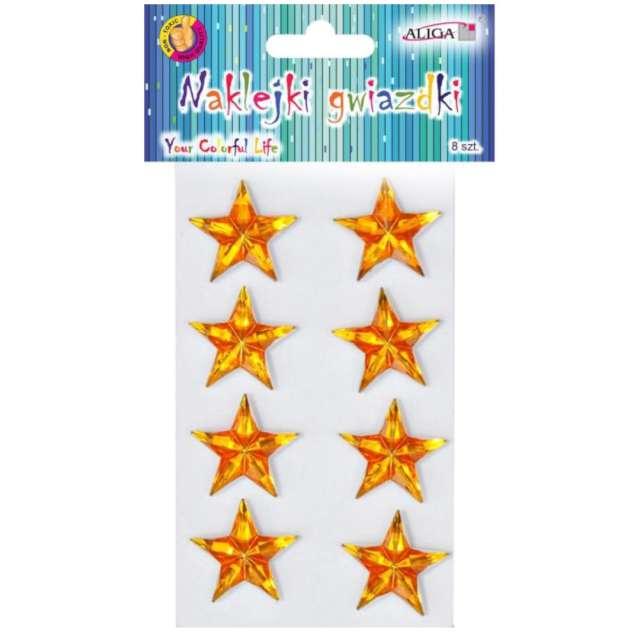 Naklejki Gwiazdy 3D złote Aliga 8 szt