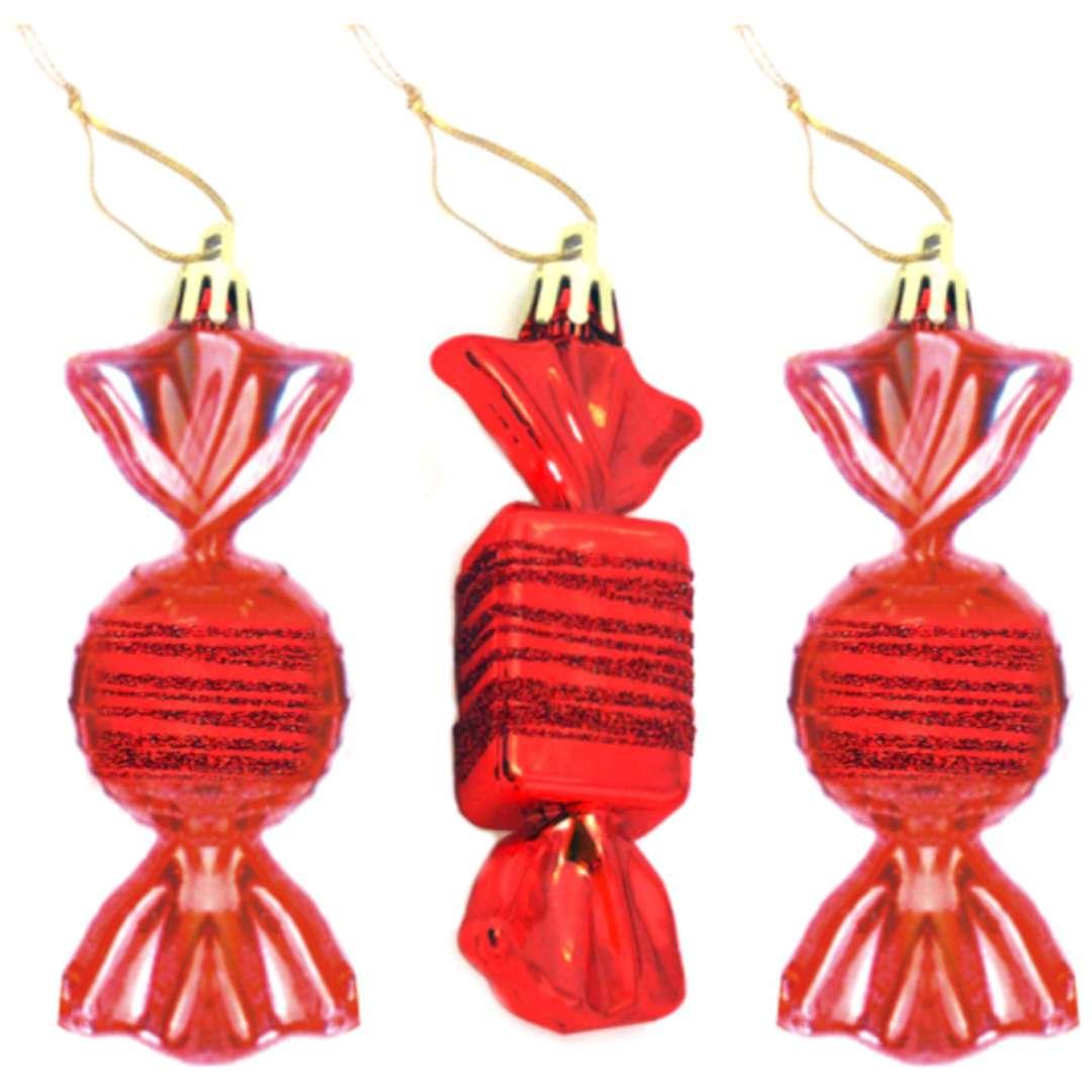"""Bombki """"Cukierki z brokatem"""", czerwone, Arpex, 9 cm, 3 szt"""