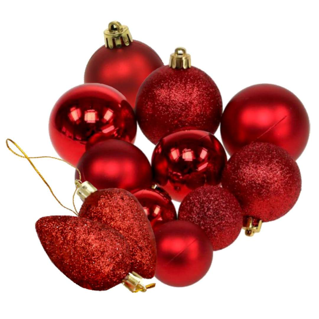 """Zestaw bombek """"Świąteczny Mix 12"""", czerwony z brokatem, Arpex"""