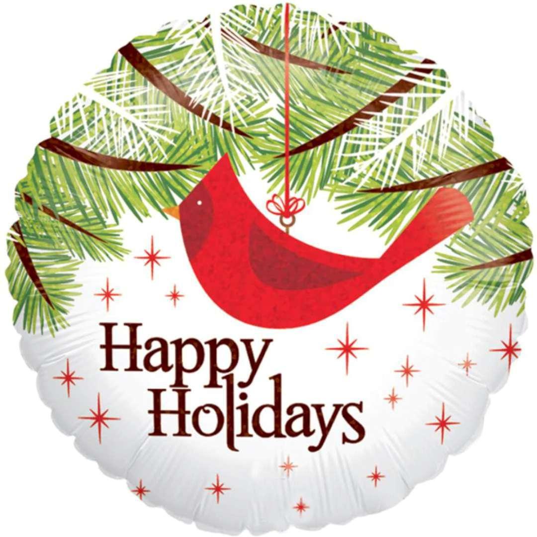 "Balon foliowy ""Happy Holidays - holo"", Betallic, 18"", RND"