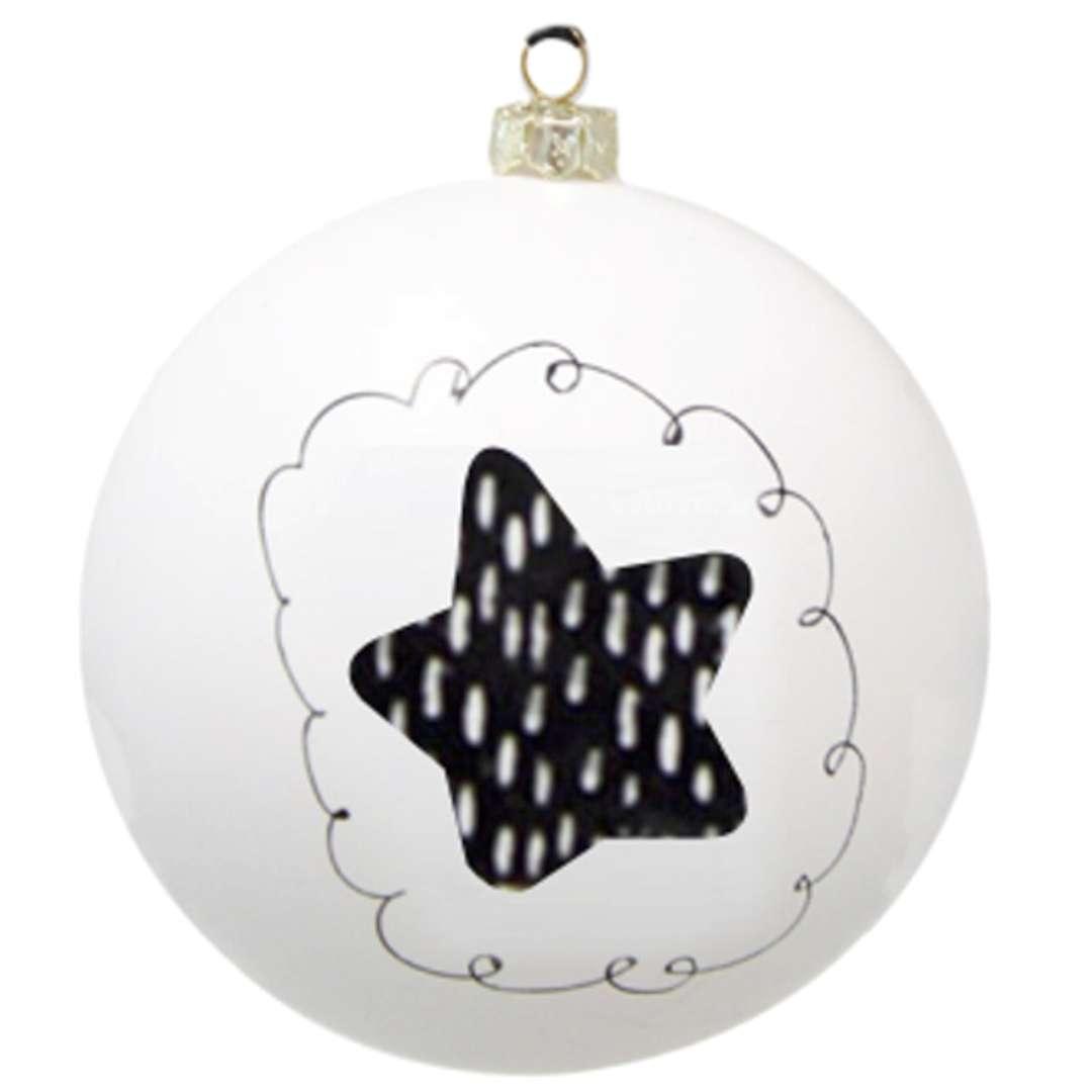 """Bombka """"Black and White - gwiazdka, biała, 7,5cm, Arpex"""