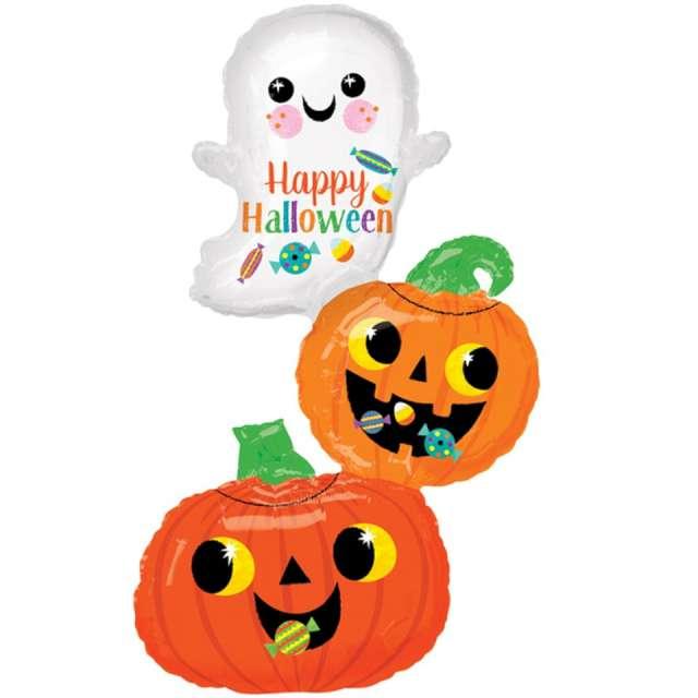 _xx_Balon foliowy SuperShape Happy Ghost & Pumpkin Stack 55 x 93cm zapakowany