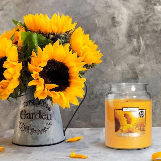 _xx_Duża świeca Słoneczniki w szkle z wieczkiem