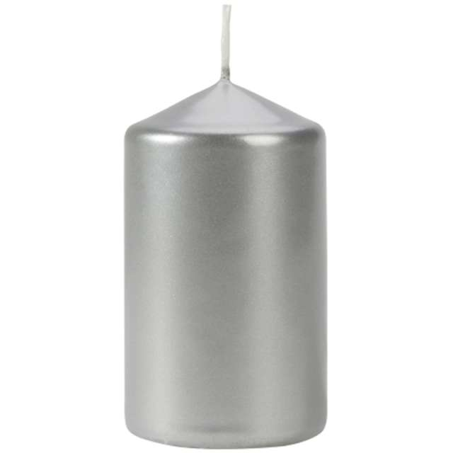 Świeca pieńkowa Classic Metallic srebrna Bispol 100/60 mm