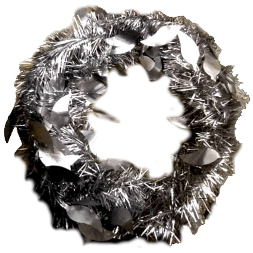 _xx_Łańcuch dekoracyjny matowy - listki srebrny