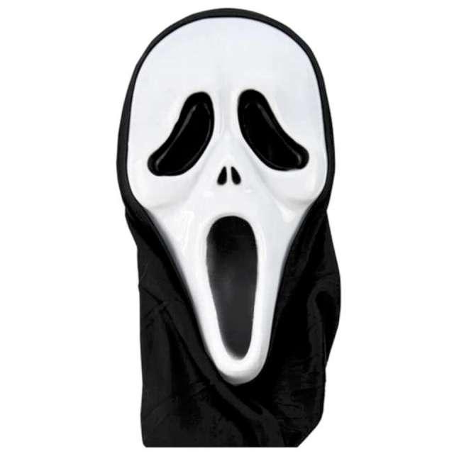 """Maska """"Krzyk z kapturem"""", biało-czarna, Czakos"""