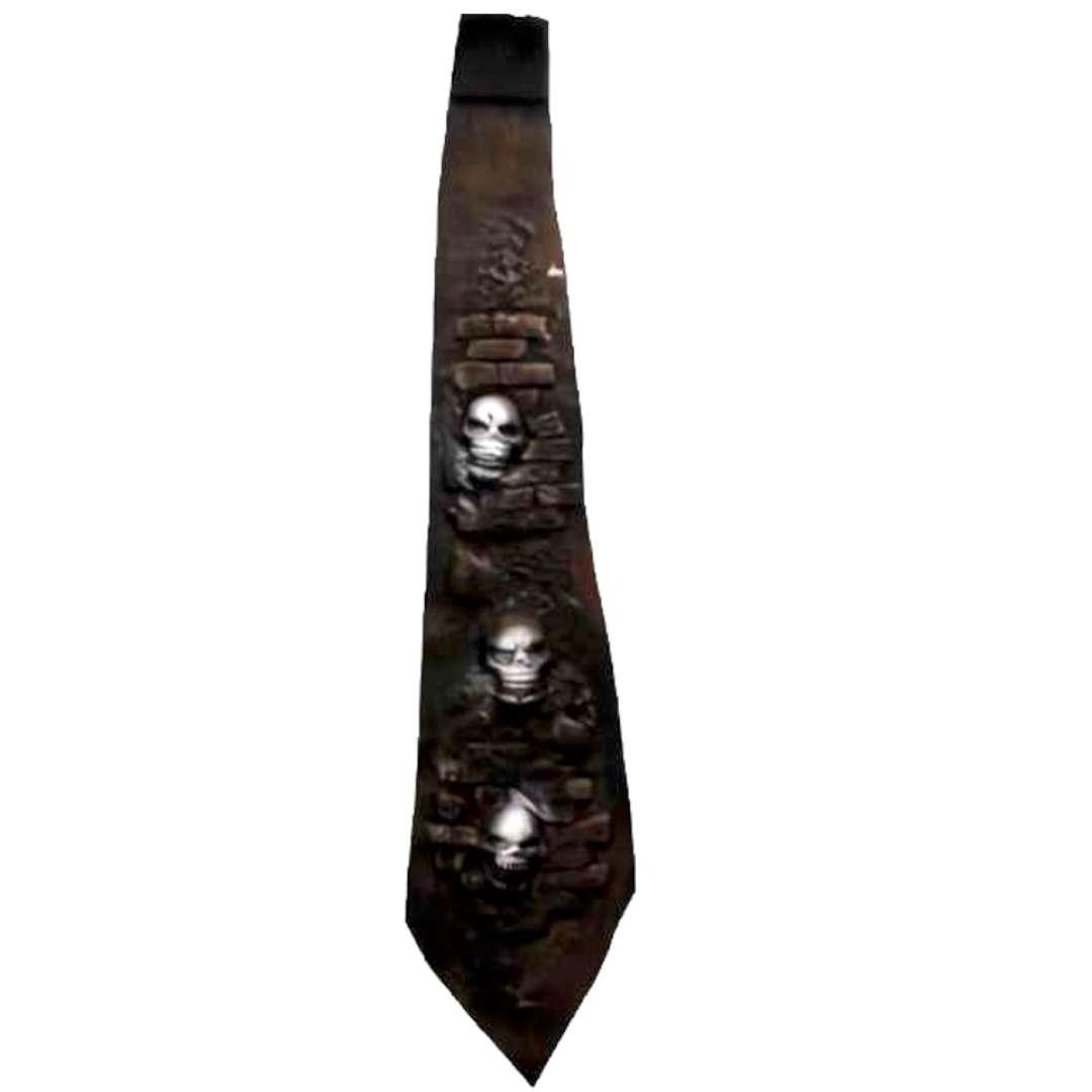 Krawat Czaszki w murze biało-czarny Party Tino