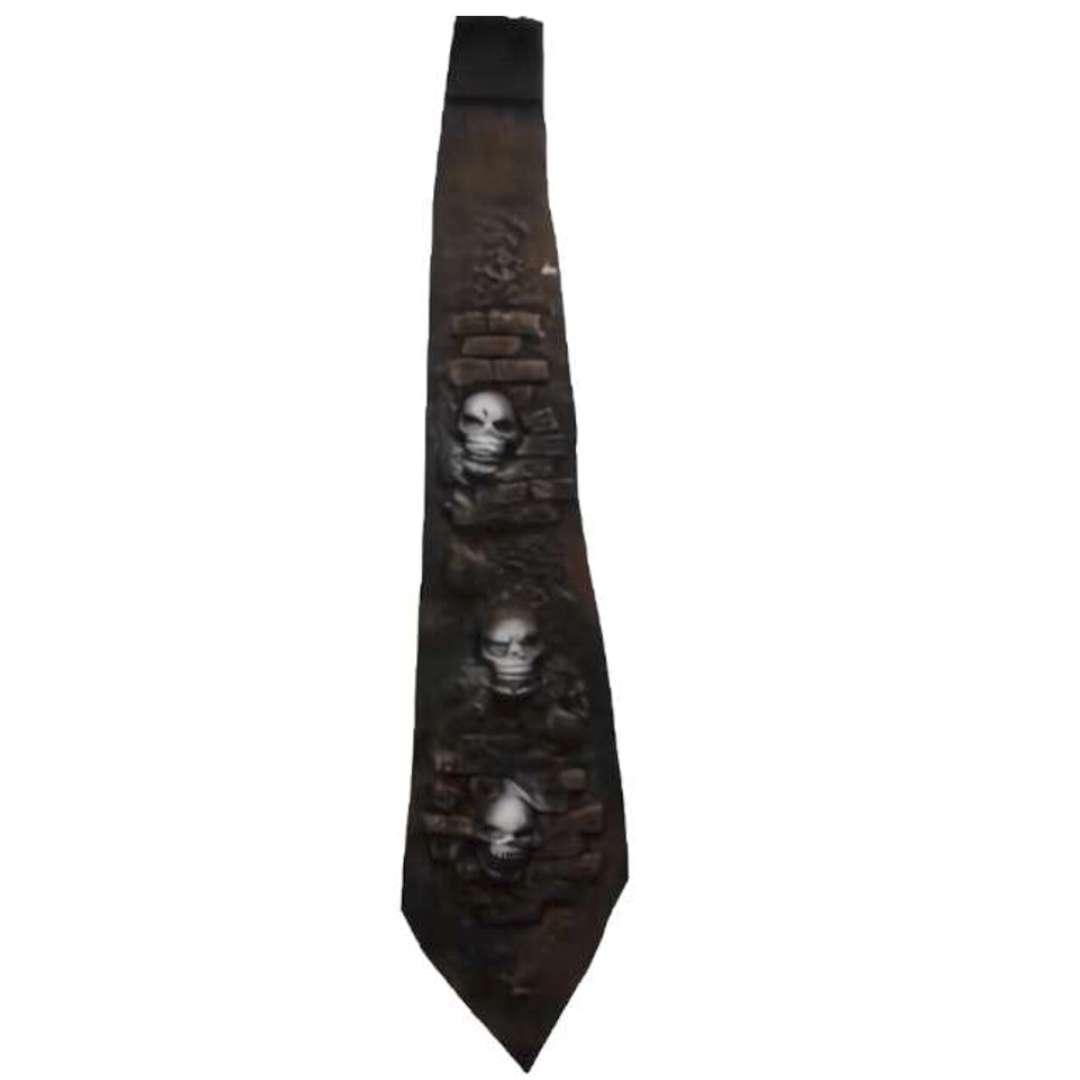 Krawat Czaszki w murze szaro-czarny Party Tino