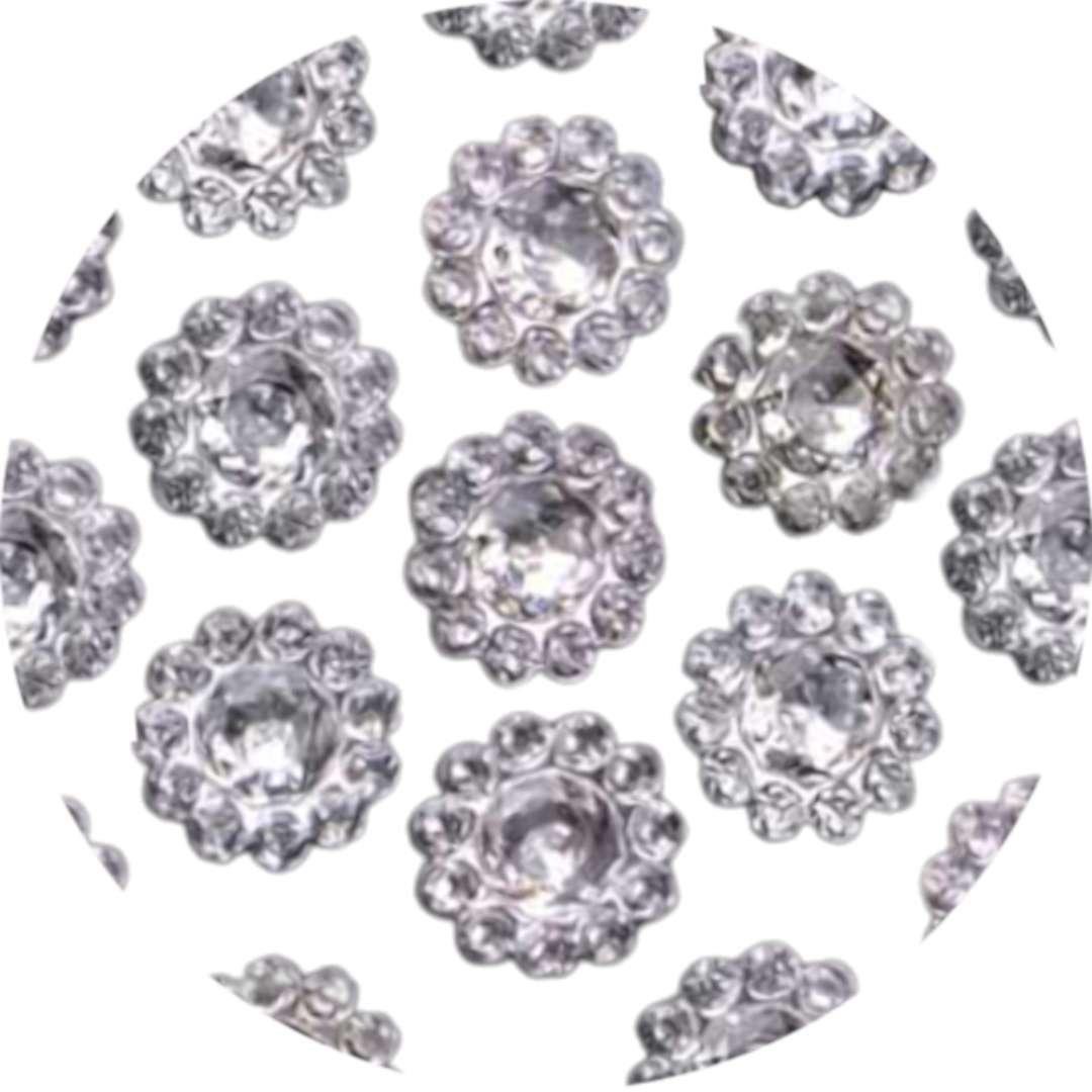 Aplikacje Kwiatek srebrny 10 mm 1 op