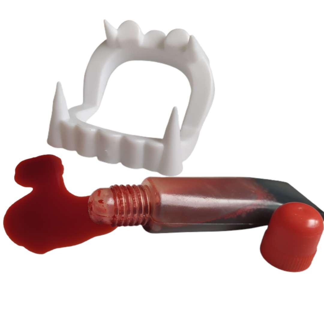 Sztuczne zęby Wampir Classic z krwią Party Tino
