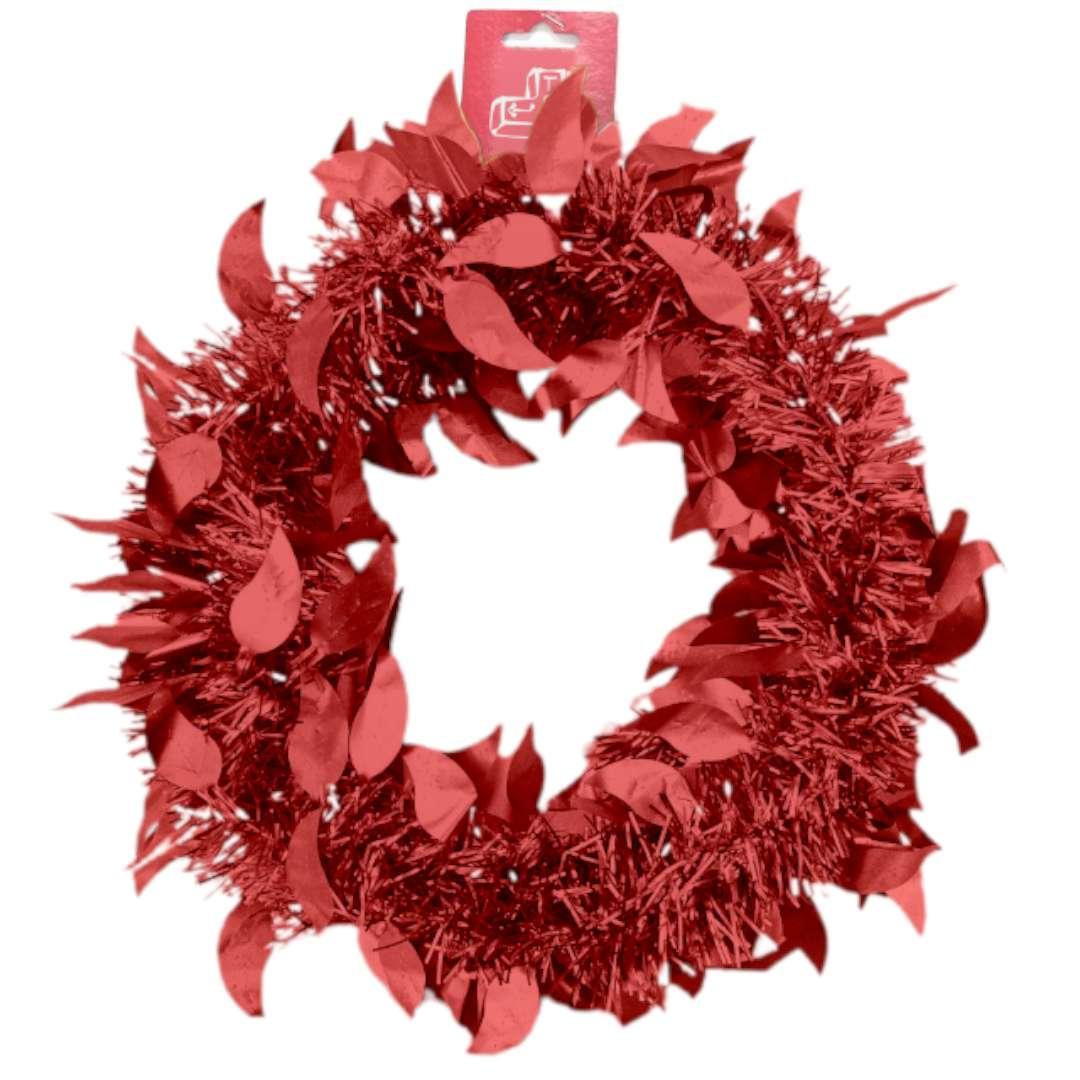 """Łańcuch Choinkowy """"Mat z listkami"""",czerwony, Arpex, 6 cm, 2 m"""