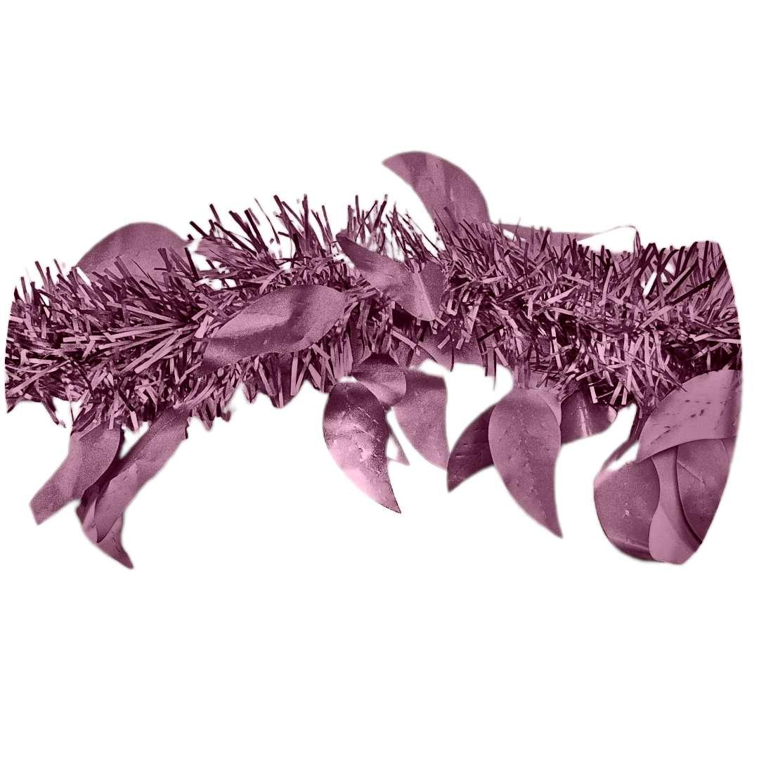 Łańcuch Choinkowy Mat z listkami różowy Arpex 6 cm 2 m