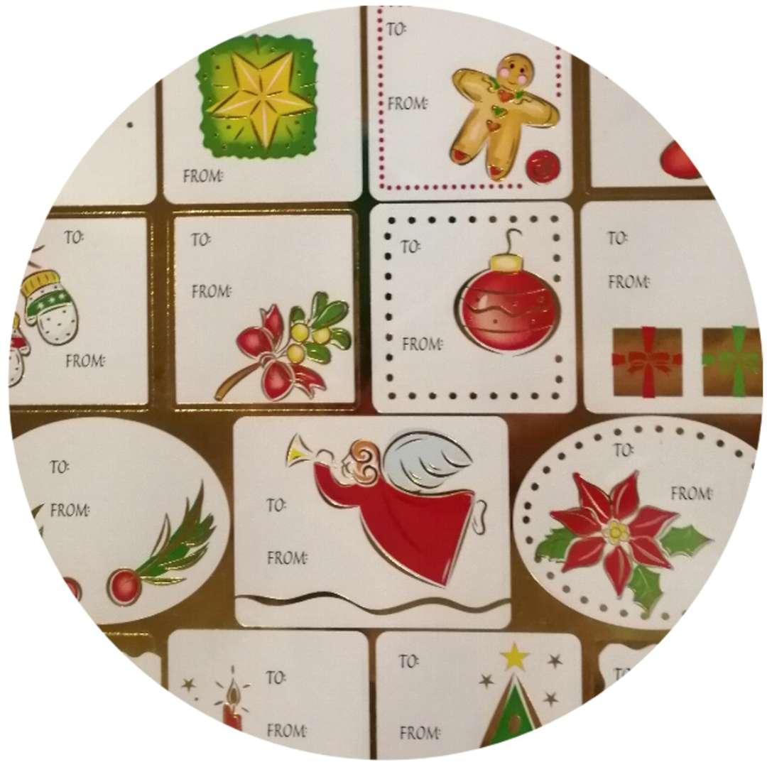 Naklejki na prezenty Świąteczne wzorki mix Arpex
