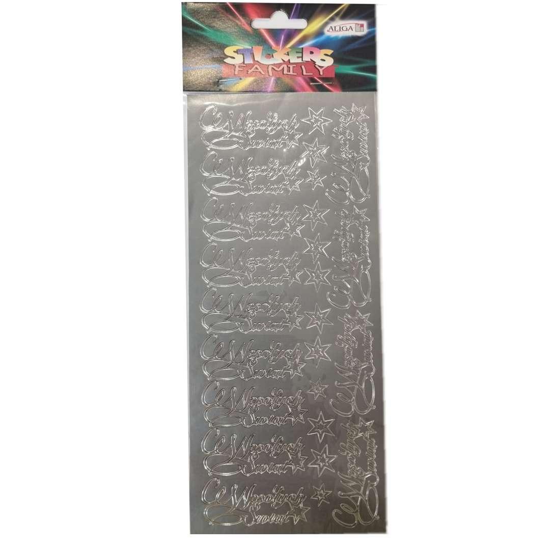 """Naklejki """"Wesołych Świąt - życzenia i gwiazdki"""", srebrne, Aliga, 10x23 cm"""
