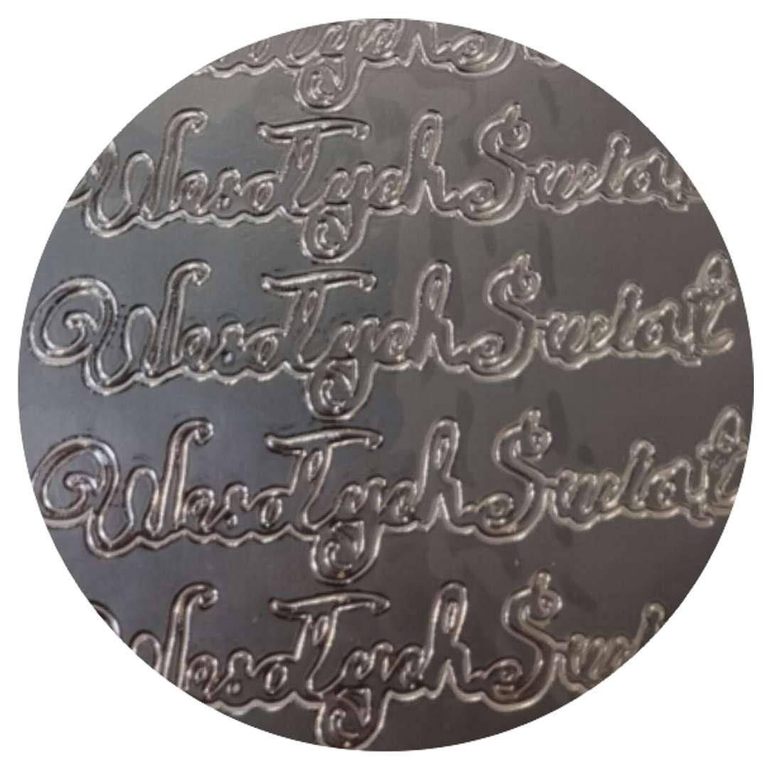 Naklejki Wesołych Świąt - życzenia srebrne Aliga 10x23 cm