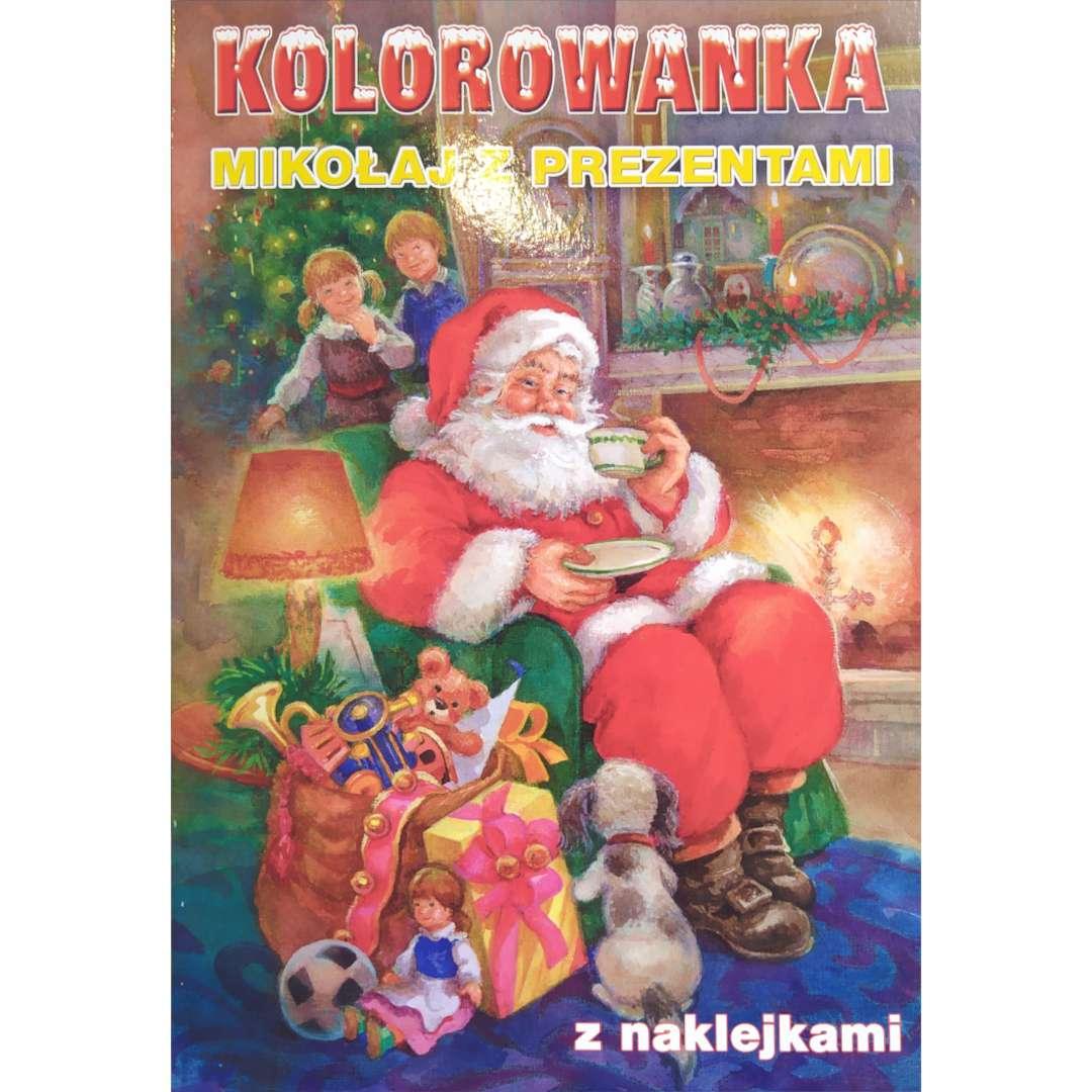 Kolorowanka Świąteczna - Mikołaj z prezentami Maki 16 rysunków