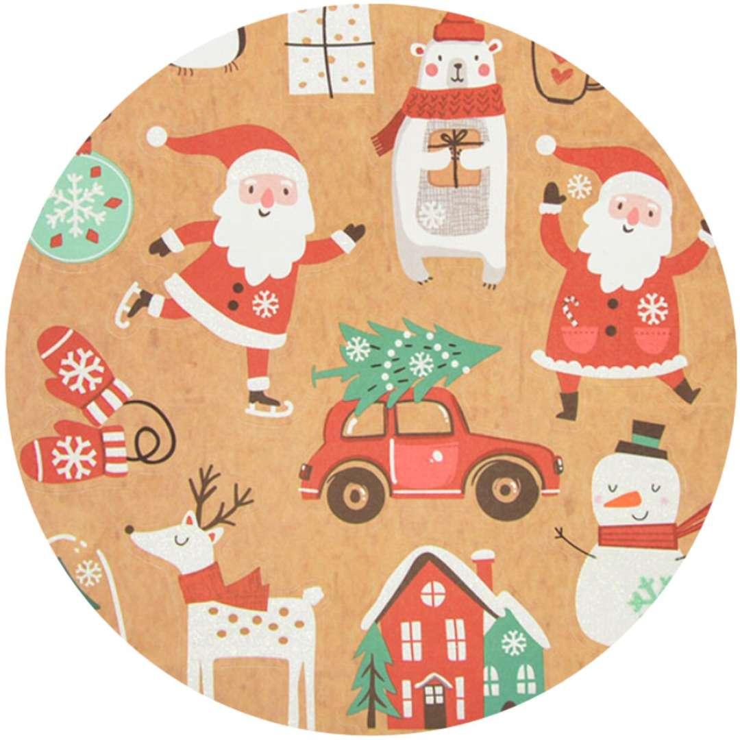 Naklejki Kraftowe Mikołaje mix Arpex arkusz