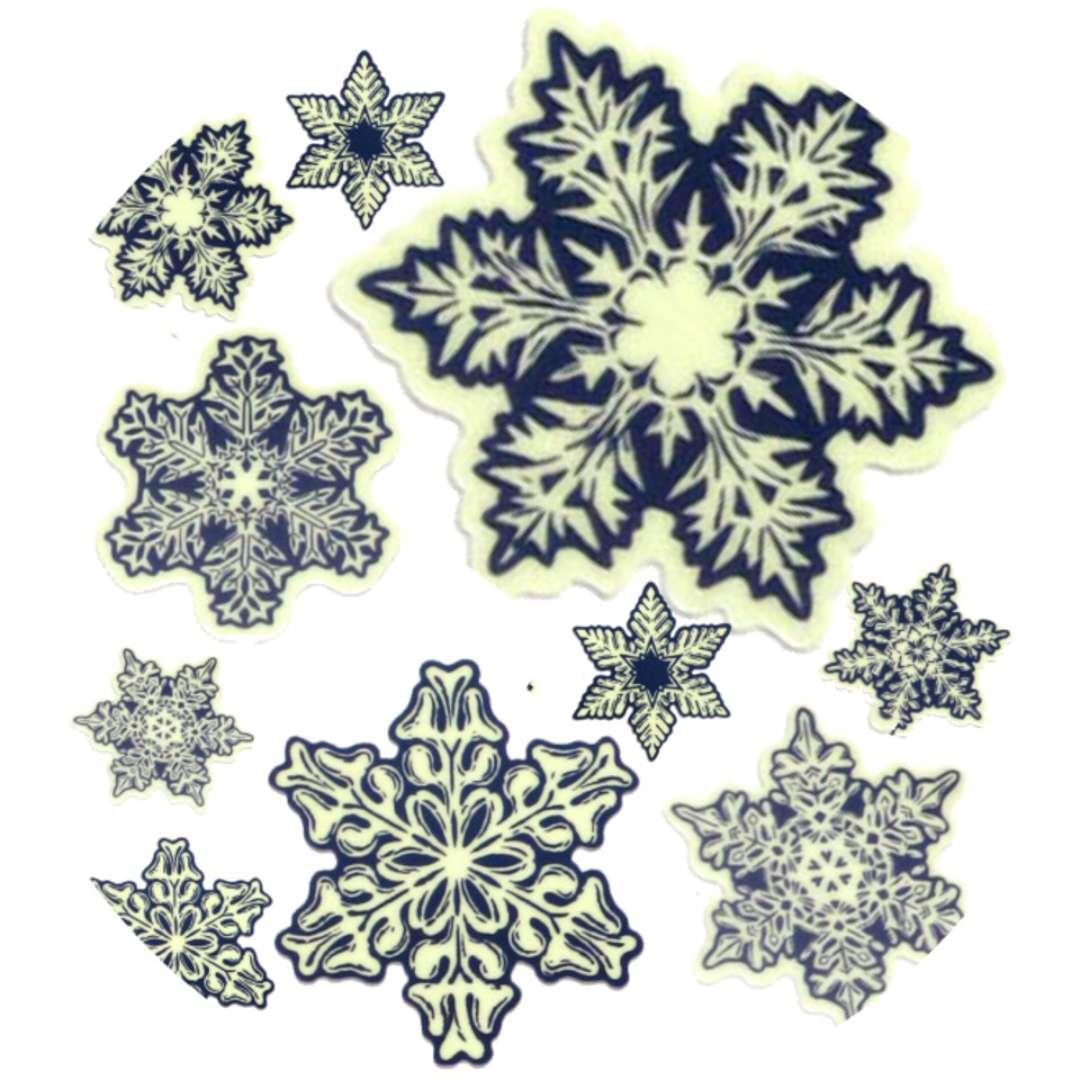 """Naklejki fluorescencyjne """"Śnieżynki"""" 1+9 szt"""", mix, Arpex, arkusz"""